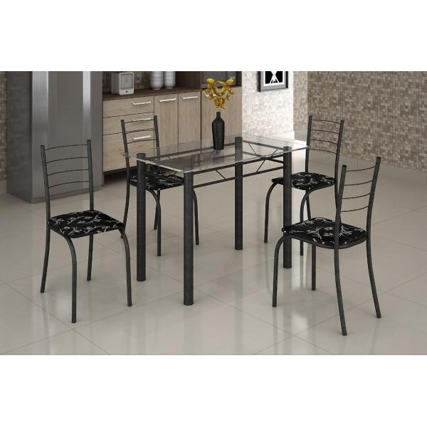 8688384808 793 G Mesa com Tampo Vidro e 4 Cadeiras 100 x 060
