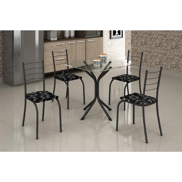 8688387297 1 G Mesa com Tampo Vidro e 4 Cadeiras 070 x 070