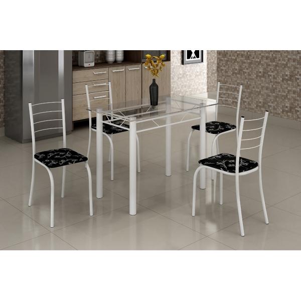 8688393167 1 G Mesa com Tampo Vidro e 4 Cadeiras 100 x 060