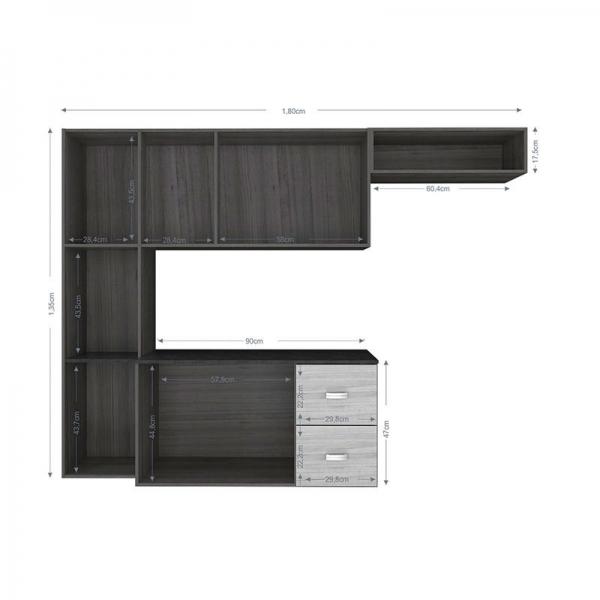8689003590 1 G Cozinha Poquema Luana com 9 Portas e 2 Gavet201