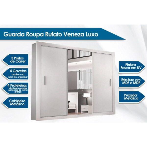 8689291357 1 GG Guarda Roupa Veneza Luxo c 3 Portas de Corre