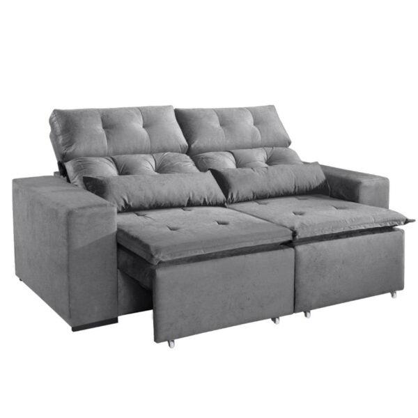 10462239805 Sofa Retratil e Reclinavel Uba 195cm Cinza